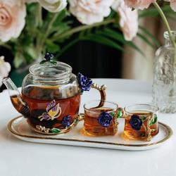 Rosdorf Park Small Glass Tea Set, 2 Fancy Cups, Tea Pot Glass, Tea Kettle Set, Tea Pot, Glass Teapot, Tea Set For Adults, Glass Tea Kettle | Wayfair