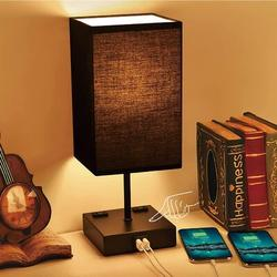 Latitude Run® Touch Control Bedside Lamp, 3 Way Dimmable Table Lamp w/ 2 USB & 2 Outlet Fabric Lampshade, Small Lamps For Nightstand, End Table
