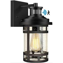 Longshore Tides Motion Sensor Outdoor Wall Light, Dusk To Dawn Outdoor Lighting w/ Seeded Glass, Outdoor Wall Sconce Porch Light For Outside, Garden