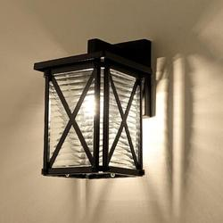 "Gracie Oaks Outdoor Wall Light Fixture Exterior Wall Lamp 11""H w/ Stripe Glass Shade Outside House Lighting Waterproof Porch Lantern Wall Mount Outdoor Light Fi"