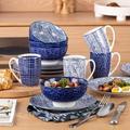 Latitude Run® Dinnerware Sets,Porcelain Dinner Set, Japanese Style Dish Set For Kitchen w/ Dinner Plate in Blue | Wayfair
