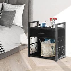 Mason & Marbles Nightstands Set Of 2, Bedroom Nightstands w/ 1 Drawer, 1 Open Compartment, Side Table, Steel Frame, Stable Legs in Black   Wayfair