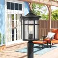 """Red Barrel Studio® Outdoor Post Light, 13.75"""" Height Exterior Post Lighting Fixture, Outdoor Patio Post Lantern For Pathway, Driveway in Black/White"""