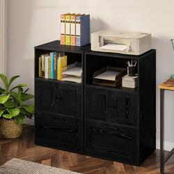 17 Stories File Cabinet w/ Drawer, Filing Cabinet w/ Storage Shelf, Vertical Office Cabinet w/ File Drawer Wood in Black | Wayfair