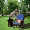 Bay Isle Home™ Patio Wicker Rocker Chair w/ Olefin Cushions & Pillow, Rocking Lawn Chair Wicker Patio Furniture - Steel Frame Wicker/Rattan in Blue