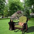Bay Isle Home™ Patio Wicker Rocker Chair w/ Olefin Cushions & Pillow, Rocking Lawn Chair Wicker Patio Furniture - Steel Frame Wicker/Rattan in Brown