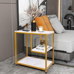 Everly Quinn Sofa Side End Table/Side Table/Metal Frame Nightstand/end Table Living Room Wood in Brown/White, Size 26.7 H x 36.2 W x 15.7 D in