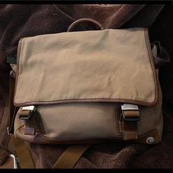 Coach Bags   Coach Canvas Messenger Bag With Leather Trim   Color: Tan   Size: Large