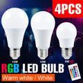 4PCS RVB Ampoule 85-265V Lampara Led E27 Lumière Contrôle Intelligent Lampe 5W 10W 15W Ampoule
