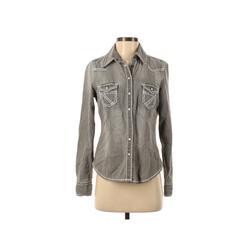 Arizona Jean Company Denim Jacket: Gray Solid Jackets & Outerwear - Size Small