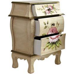 "One Allium Way® Natural Antique Night Stand W/Floral Art Nightstand, Beige/Pink/Gold,23"" X 14.5"" X 34.5"" in Brown/Pink/Yellow   Wayfair"