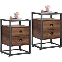 """17 Stories Nightstand Tempered Glass End Side &Sofa Table w/ 2 Drawers For Living Room Bedroom Office Lounge,Set Of 2, 15.7""""X13.8""""X23.6"""" in Brown"""