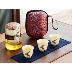 Loon Peak® Travel China Tea Set For Women Glass Tea Cup Set w/ Infuser, Size 4.21 H x 4.29 W x 6.26 D in   Wayfair 6FBAC2F9687B451891F9EE579A6C38DB