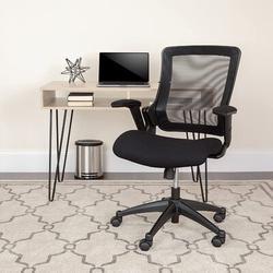 Inbox Zero Flash Furniture Mid-Back Mesh Executive Swivel Office Chair w/ Molded Foam Seat & Adjustable Arms in Black | Wayfair