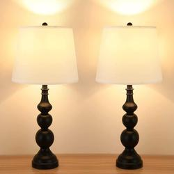 Canora Grey USB Table Lamp Set Of 2 - Room Lamps w/ USB Charging Ports, Industrial Farmhouse Nightstand Lamp w/ Fabric Lampshade in Black/White