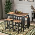 Latitude Run® Ishpeming 5-Piece Kitchen Counter Height Table Set, Industrial Dining Table w/ 4 Chairs (Oak) Wood/Metal in Brown, Size 35.0 H in