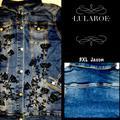 Lularoe Jackets & Coats | Llr Jaxon Denim Jean Jacket. Size 3xl | Color: Black/Blue/Red | Size: 3x