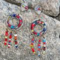 Anthropologie Jewelry | Anthropologie Tribal Bead Chandelier Earrings | Color: Gold/Red | Size: Os