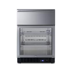 """""""24"""""""" Wide Built-In Commercial Beverage Refrigerator With Top Drawer - Summit Appliance SCR615TDCSS"""""""
