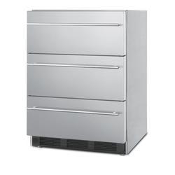 """24"""" Wide 3-Drawer All-Refrigerator - Summit Appliance SP6DBSSTB7Thin"""