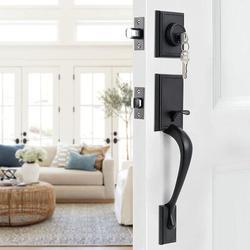 ATS Front Door Handle Matte Door Handle Sets Handleset w/ Door Lever Front Door Lock Set Door Handles, Modern-Straight Shape in Black | Wayfair