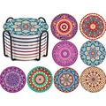 Coasters For Drinks Absorbent w/ Holder, Mandala Drink Coasters Ceramic Coasters w/ Cork Base, Tabletop Protection For Any Table Type | Wayfair