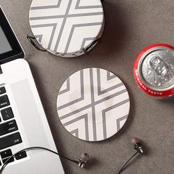 Absorbent Housewarming Coaster Set w/ Holder Ceramic in White, Size 0.25 H x 4.0 D in   Wayfair ABSff43e05