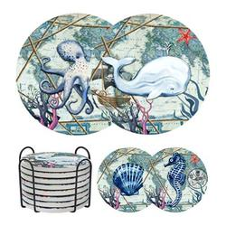 Coasters For Drinks, Drink Coasters Absorbent w/ Holder & Cork Base For Furniture Protection, Ocean Life Style Ceramic Stone Coasters For Bar Kit