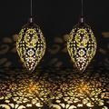 goodgou16 Solar Garden Hanging Lights Water Drop Lantern Decoration Projection Lamp Waterproof Wrought Iron Chandelier Outdoor 2 Pack | Wayfair