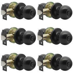 ABS Flat Bed/Bathroom Door Handle, Indoor Privacy Door Lock, Bedroom Bathroom Keyless Round Door Handle, Solid Stainless Steel Lock in Black Wayfair
