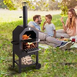 Aoxun Outdoor Pizza Oven w/ Stone, Portable Steel Pizza Grill, Wood Fire Pizza Heater For Backyard, w/ Pizza Peel, Stainless in Black   Wayfair