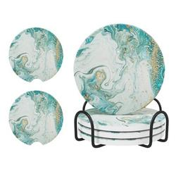 ABS Coaster Set w/ Holders Ceramic, Size 0.2 H x 4.0 D in | Wayfair ABS842896a