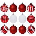 DELCY 30 Pieces Of Christmas Ball Ornaments, Shatterproof Holiday Bulbs, Holiday Wedding Ornaments, Christmas Tree Decorations | Wayfair in Red/White