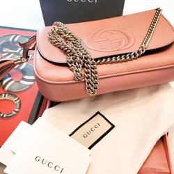 Gucci Bags   Gucci Soho Leather Flap Shoulder Bag - Dusty Pink   Color: Pink/Silver   Size: Os