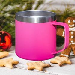 JGZ 14Oz Coffee Mug Cup w/ Handle,Vacuum Insulated Coffee Mug w/ Sliding Lid, Double Wall Stainless Steel Travel Tumbler Mug (1 Pack) in Pink