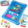qing Sandbox Mold Tool Toys - 35PCS Sand Mold Tools Kit, Food Molds, Sand Tools, Sand Tray & Storage Bag, Sand Box Sand Toys For Girls, Kids in Blue