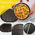 qingzoe Nonstick Carbon Steel Pizza Pan, Pizza Tray, Perforated Pizza Crisper, Professional Pizza Sheet Baking Tray, Pizza Plate in Black   Wayfair