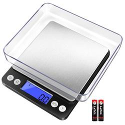 OXINGO Digital Kitchen Scale 3000G/0.1G, Pocket Food Scale 6 Units Conversion, Gram Scale w/ 2 Trays, LCD, Tare Function, Size 5.0 H x 4.1 W in