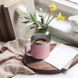 JGZ 14Oz Coffee Mug Cup w/ Handle,Vacuum Insulated Coffee Mug w/ Sliding Lid, Double Wall Stainless Steel Travel Tumbler Mug ( 1 Pack) in Pink