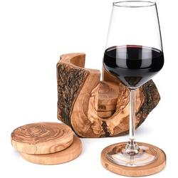 shanglixiansenxinmaoyi Olive Wood Coasters For Drinks w/ Holder ~ 6 Pieces Of 4 Inch ~ Rustic Coasters ~ Wooden Coasters For Drinks ~ Coaster Set ~ Coasters For Wooden Tab