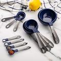 SWU 12 PC Measuring Cups Set & Measuring Spoon Set/Gunmetal Stainless Steel Handles/Nesting Kitchen Measuring Set/Liquid Measuring Cup Set/Dry M