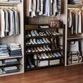 Rebrilliant Shoes Rack Shelf Organizer Entryway 5 Tier Bamboo For 24 Pair Boots Footwear Book Flowerpots w/ Storage Box in Brown | Wayfair