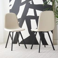 Corrigan Studio® SAFAVIEH Home Collection Ellery Beige/Black Living Room Accent Dining Chair DCH2002A-SET2 in Black/Brown   Wayfair