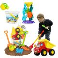 qing Beach Sand Toys Set w/ Water Wheel, Dump Truck, Bucket, Shovels, Rakes, Watering Can, Molds, Outdoor Tool Kit For Kids, Toddlers, Boys & Girls