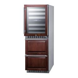 """Summit Appliance 24"""" Wide Combination Dual-Zone Wine Cellar & 2-Drawer Refrigerator-Freezer (Panels Not Included) in Black/Gray   Wayfair"""