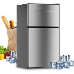 SDPP Mini Fridge w/ Freezer, 3.2 Cu.Ft Mini Refrigerator w/ 2 Doors, Compact Small Refrigerator For Dorm, Bedroom, Office, Energy Saving in Black