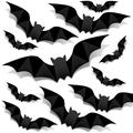 The Holiday Aisle® 128Pcs Bat Wall Decoration, 3D Scary Waterproof Bat Wall Stickers For Halloween Party Indoor Outdoor Decor Supplies in Black