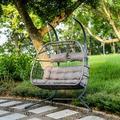 Dakota Fields Luxury 2 Person X-Large Double Swing Chair Wicker Hanging Egg Chair Polyester in Gray, Size 77.2 H x 63.0 W x 43.3 D in | Wayfair