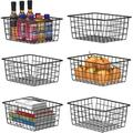 Everly Quinn Wire Basket, 6 Pack Metal Baskets For Storage Organizer For Pantry, Shelf, Freezer, Kitchen Cabinet, Bathroom, Small, Rose Gold Metal