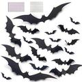 The Holiday Aisle® Halloween 3D Bats Decoration, 72 PCS Halloween Bats Stickers, Halloween Wall Decorations in Black, Size 0.02 H x 1.6 W in Wayfair